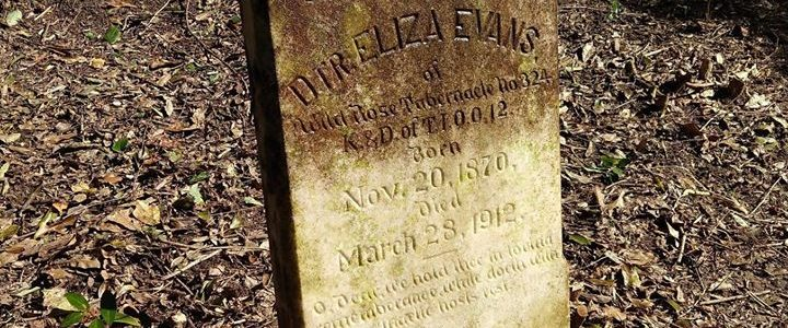 Picture of Eliza Evan's headstone with the top half uncleaned and the bottom half cleaned.