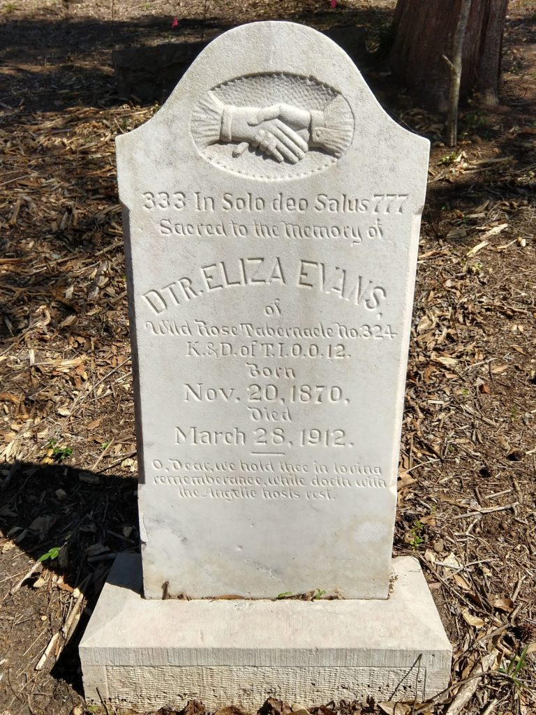 Gravestone of Eliza Evans